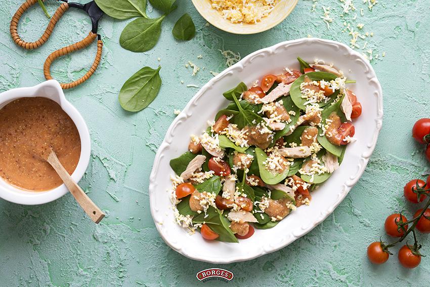 Tuna salad with hard-boiled egg and tomato vinaigrette