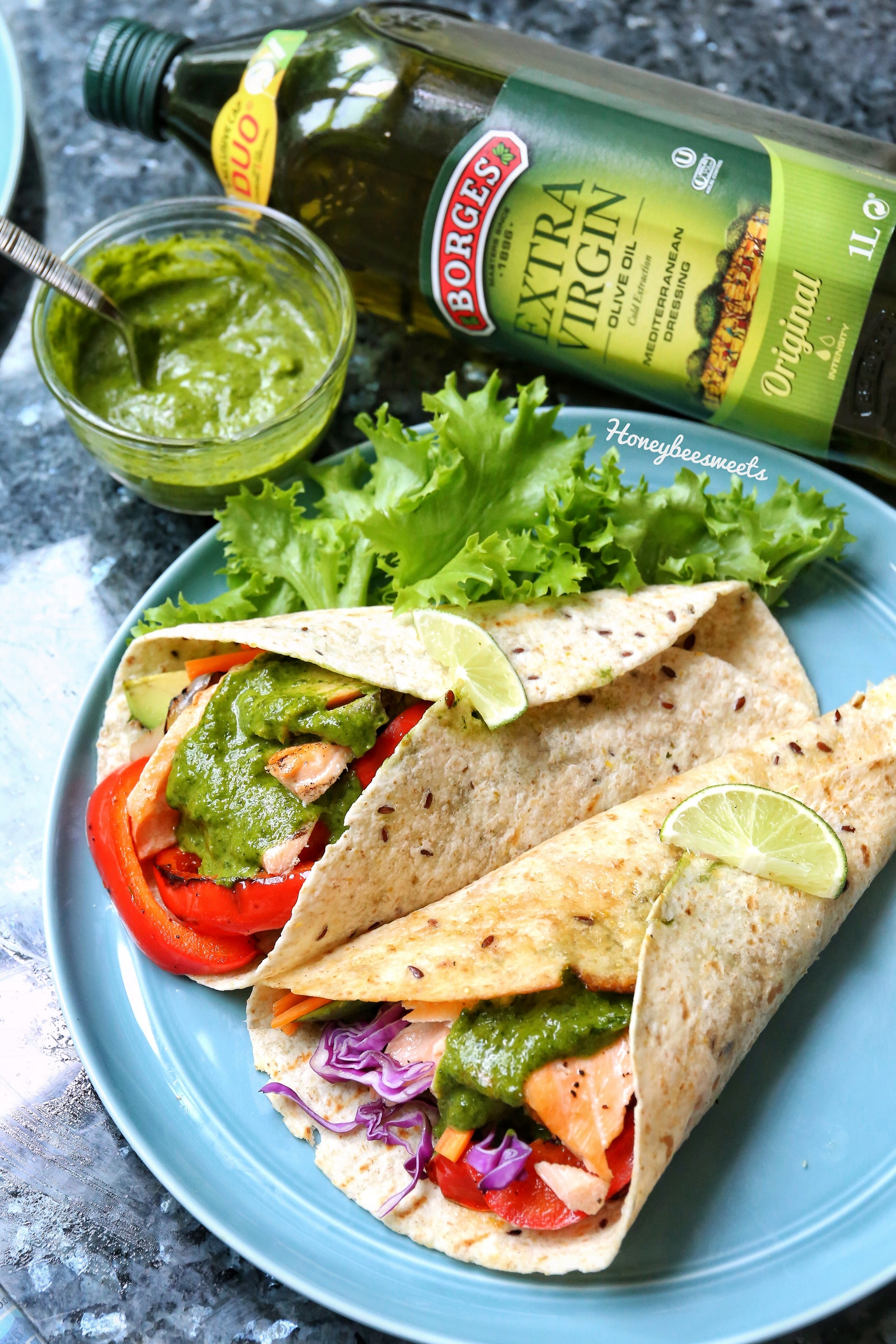 Grilled Salmon & Vegetables Tortilla With Chimichurri Sauce