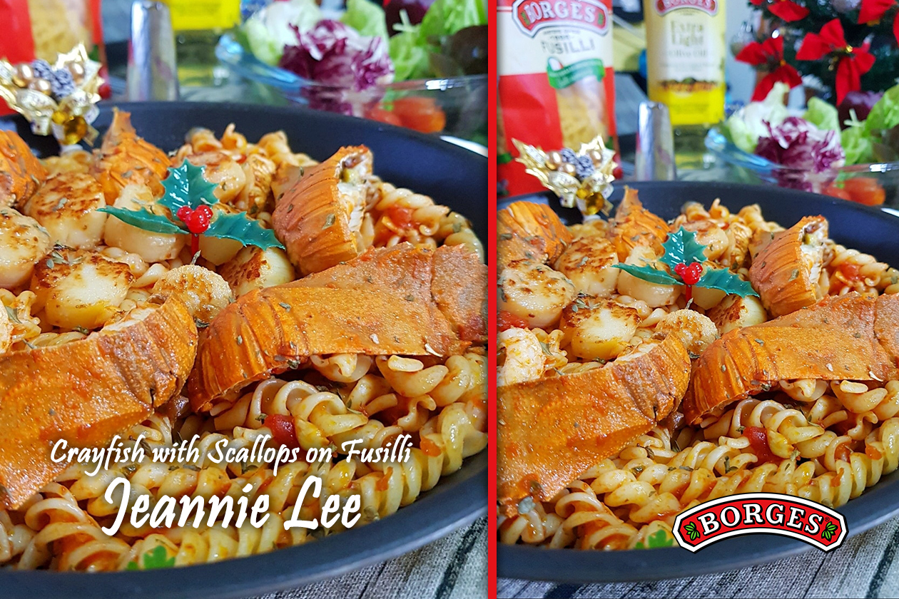 Crayfish with Scallops with Fusilli